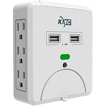 Amazon Com Kmc 6 Outlet Wall Mount Surge Protector With 2