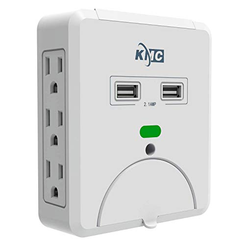KMC 6-Outlet Wall Mount Surge Protector with 2 USB Charging Ports (2.4 AMP)