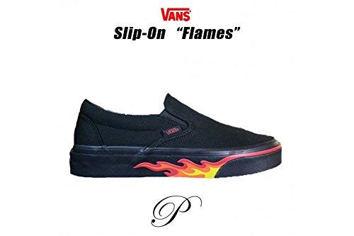 The Black Flame - Vans Mens U Clasic Slip On Flame Wall Black Black Size 8.5