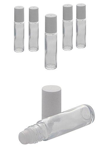 Deostick Flaschen zu 10ml, Kosmetex klare Glas Roll-On, Deo-Roller zum Selbst Befüllen, 6× 10 ml