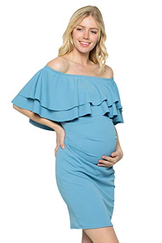 (My Bump Double Layer Ruffle Maternity Dress-Fitted Off-Shoulder Baby Shower Pregnancy (B.Blue, Large))