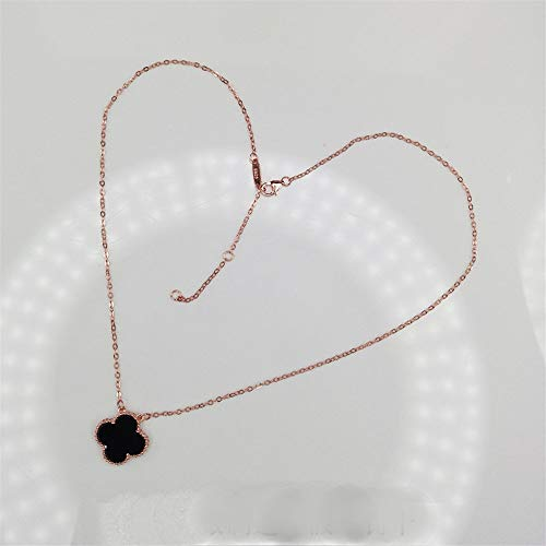 YChoice of Lovely Cosmetics Toy Ladies Vintage Four-Leaf Clover Pendant Clavicle Chain Necklace-Rose Gold Chain Black Agate