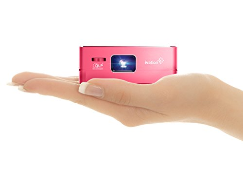 Ivation Pro3 Portable Rechargeable Smart DLP Projector - Streams via HDMI/MHL & USB Connections, Wi-Fi, Bluetooth - Compatible with DLNA, Miracast, Airplay Wireless Mirroring for iOS & Android -Red