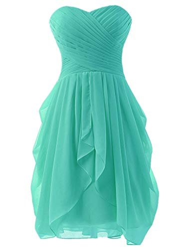 - Women's Strapless Chiffon Short Bridesmaid Dresses Prom Gowns Turquoise US18W