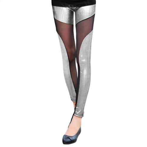 Lycra Mesh Thigh Highs (LOCOMO Women Metallic Shiny Sheer Mesh Inset Legging S-M FFT032SIL Silver)
