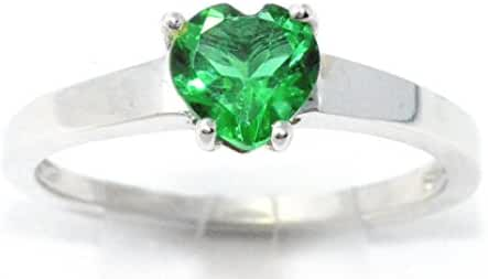 Simulated Emerald Heart Ring .925 Sterling Silver Rhodium Finish