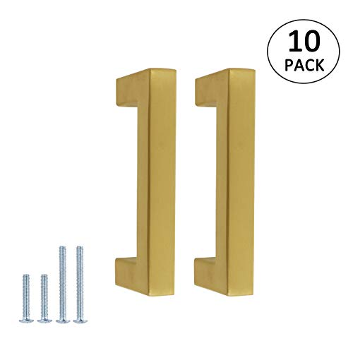 10 Pack Square Cabinet Handles Brushed Brass Finish 76mm(3