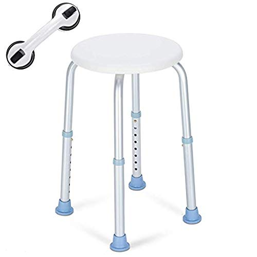 OasisSpace Shower Stool, Heavy Duty Adjustable Bath Chair with Free Grab Bar, Medical Tool Free Anti-Slip Bathtub Seat Bench Lightweight and Durable for Elderly, Senior, Handicap, Disabled Round