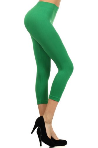 Fashion Mic Womens Basic Solid Color Capri Nyon Leggings (regular, kelly green)