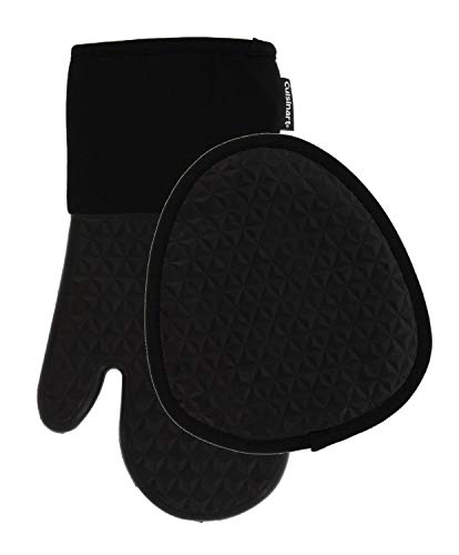 Cuisinart Silicone Kitchen Oven Mitts/Gloves & Potholder Set - Heat Resistant up to 500 F, Handle Hot Oven/Cooking Items Safely - Non-Slip Grip and Hanging Loop– Trillion- Jet Black, 2pk