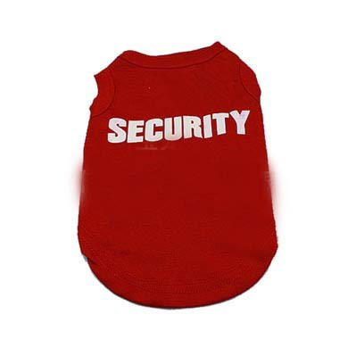 Staffies Costumes In (Dogs T Shirt SECURITY Dogs Cotton Vest Clothes Summer Shirts Pets Clothing Breeds-Puppy Staffy Chihuahua Rottweiler 7sizes (Red,)