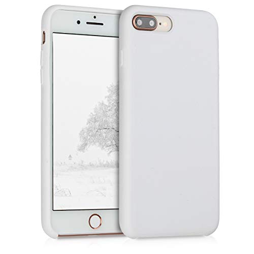White Solid Case - kwmobile TPU Silicone Case for Apple iPhone 7 Plus / 8 Plus - Soft Flexible Rubber Protective Cover - White