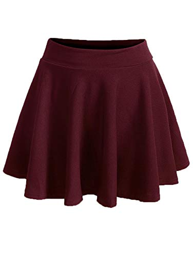 Romwe Women's Plus Size Stretchy Elastic Waist Flared Casual Mini Skater Skirt Burgundy 2X Plus