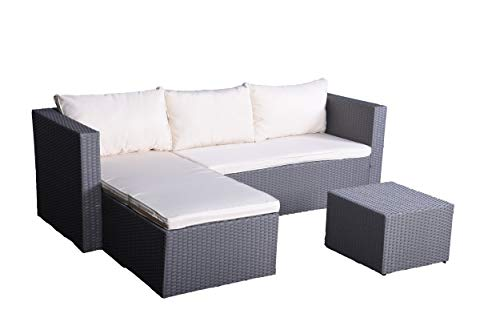 IDS Online MLM-18874 Outdoor Rattan Cushioned Sectional Sofa Garden PE Wicker Conversation Lawn Patio Furniture Set with Coffee Table for Backyard, Pool, Bal, Grey White