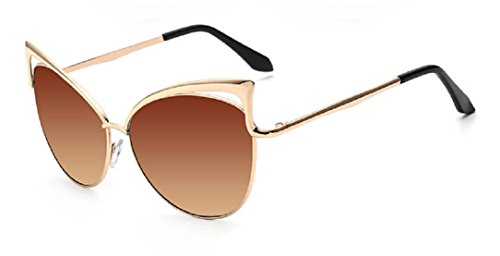 YABINA Sexy Cateye Women Sunglasses Oversized Metal Frame Flat Mirrored Lens - Tv Sunglasses