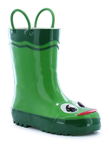 Western Chief Boys Waterproof Printed Rain Boot with Easy Pull On Handles, Fritz the Frog, 10 M US Toddler