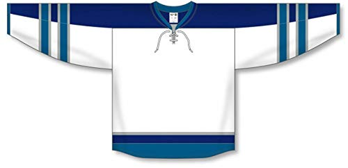 2011 Winnipeg White Taper Neck with Underlay Pro Plain Blank Hockey Jerseys
