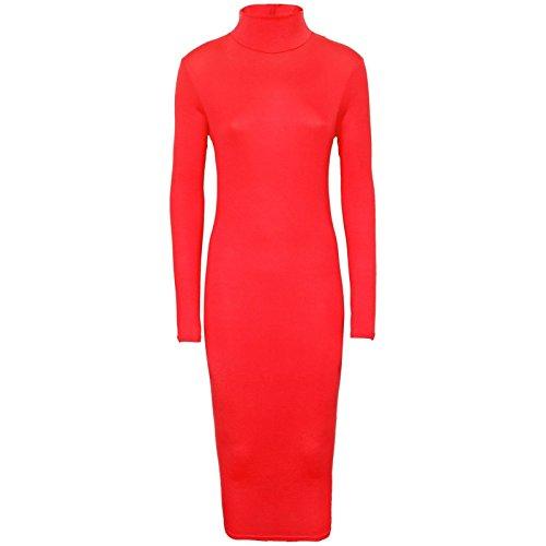 Oromiss para mujer Polo de manga larga cuello vestido Plain elástico Midi rollo cuello Celeb Look Rosso