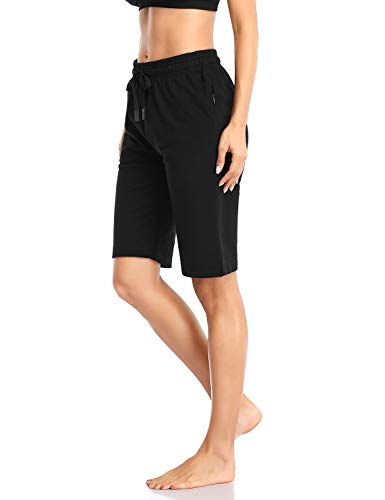 Safort-254-cm-127-cm-Bermudas-activas-para-Mujer-100-algodon-3-Bolsillos-Pijama-Lounge-Essential-Shorts-Largos-Casual