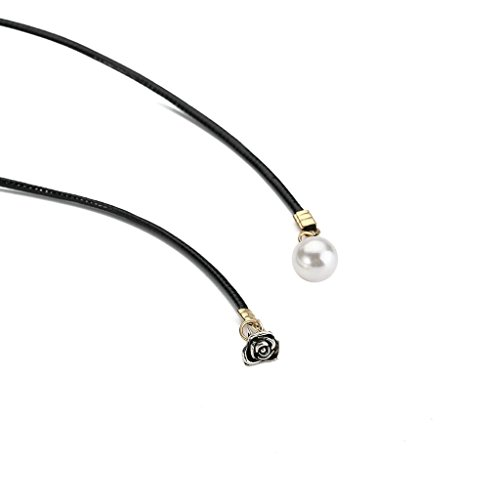 KnSam Ras du Cou Choker Collier Acier Inoxydable Dentelle Retro Chain Fleur Blanc Noir