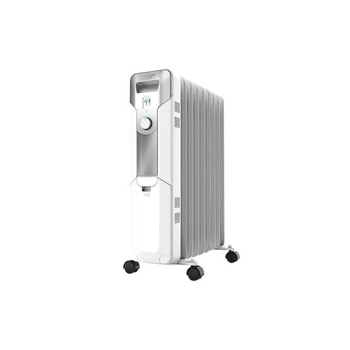 31 pd%2BVztrL Radiador de aceite de 9 módulos con una potencia de 2000 w; incluye un sistema para enrollar y almacenar el cable y ahorrarte espacio; indicador luminoso de encendido Termostato regulable con tres niveles de potencia para optimizar el consumo de energía: eco (800 w), medio (1200 w) y máximo (2000 w) Sistema easygo para un fácil transporte; cuenta con un mango ergonómico y ruedas multidireccionales para desplazarlo cómodamente