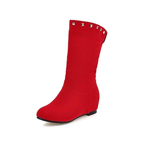 dell'elegante Red femmina Stivali ZQ a inverno Cilindretto versatile X e autunno con all'interno studenti corto maggiore e spessore In testa tonda Stivali qU1qR7