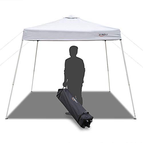 VINGLI 8.2' x 8.2' Outdoor Pop-Up Canopy, Folding Tent Portable Pergola for Wedding Party BBQ Event, Sunshade Waterproof Garden Patio Gabezo, Slant Leg, White