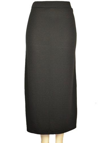 143Fashion Ladies Fashion Solid Long Skirt, Black, Small