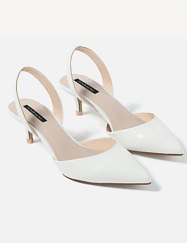 LFNLYX Zapatos de mujer-Tacón Bajo-Tacones / Punta Cerrada-Sandalias-Vestido-Microfibra-Blanco White