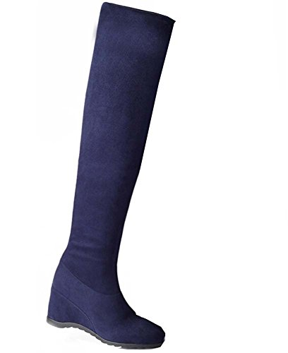 boots Blue with knight boots slope The high female boots new knee xpvxwqz716