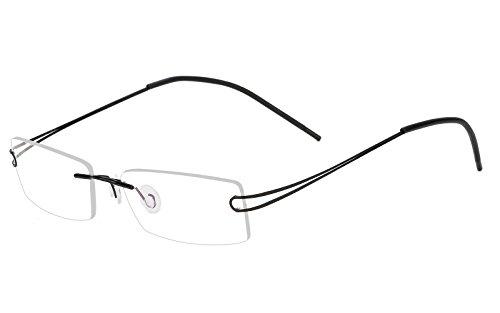 (Agstum Pure Titanium Rimless Frame Prescription Hingeless Eyeglasses 52mm (Black, 52mm))