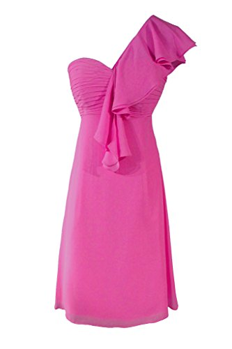Dresstore Women's Flowers Short Bridesmaid Dresses One Shoulder Prom Dress Fuchsia US 10