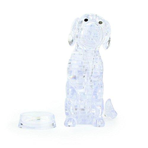 - KingWo Original 3D Crystal Puzzle - Cute Dog Model DIY Gadget Blocks Building Toy Gift (White)