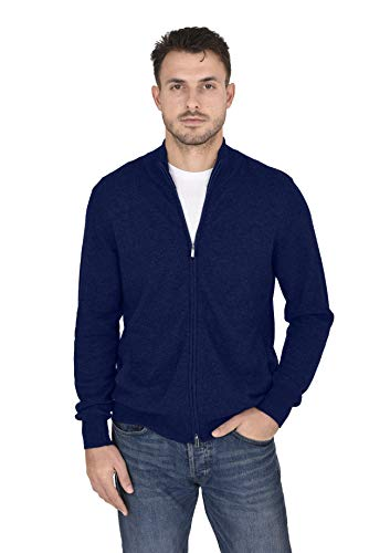 - Cashmeren Men's Wool Cashmere Classic Knit Soft Full-Zip Mock Neck Pullover Sweater (Navy, X-Large)