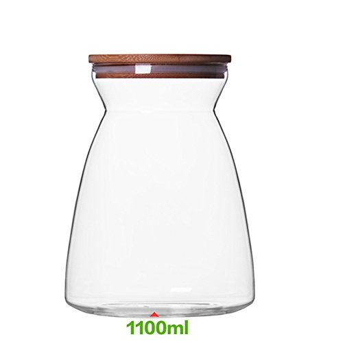 GreenSun(TM) storage jar heat resistant glass jar with lid borosilicate high clear cookie jar with bamboo lid 700ml&1100ml