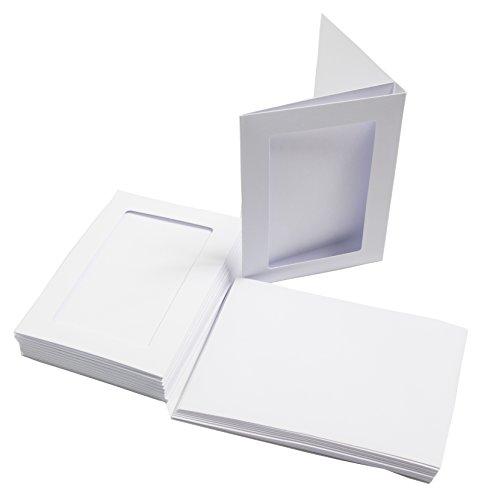 Aperture Cards - The Paper Palace 10 White A6 3 Fold Rectangular Aperture Cards Envelopes, 15 x 20 x 5 cm