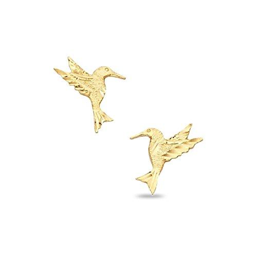 Post 11 Flower Mm (Hummingbird Stud Earrings Solid 14k Yellow Gold Bird Studs Diamond Cut Polished Design 12 x 11 mm)