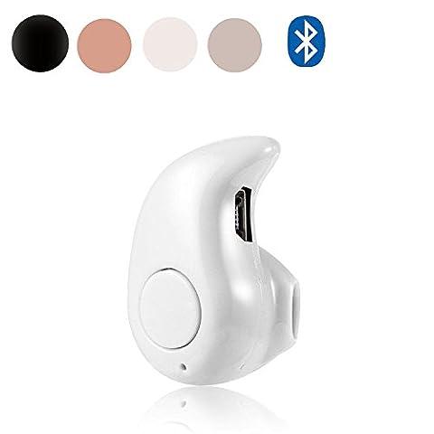 EEEKit Ultra Small Mini Invisible Single-Ear Secret Spy Tiny Hidden Wireless Bluetooth V4.1 Earphone for iPhone 7 6 6S Plus Samsung Galaxy S8 / Plus S7 Note 5 (White)
