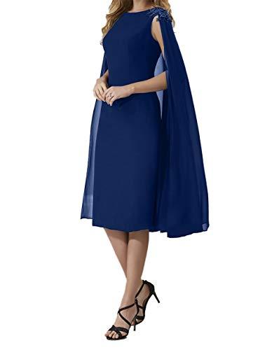 Damen Abendkleider Charmant Navy Etui Promkleider Chiffon 2018 Knielang Rock Ballkleider Lila Blau 4XdqwdZ