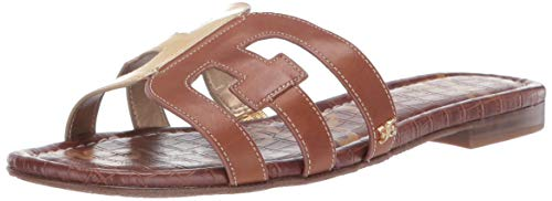 (Sam Edelman Women's Bay Slide Sandal, Bright Gold/Luggage, 8 M US)