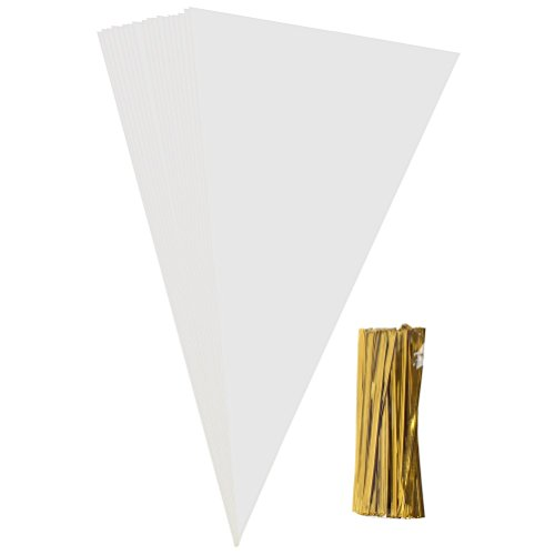 Pengxiaomei 100 Pcs Cone Bags, Clear OPP Plastic Bags with 100 Gold Twist Ties for Sweets Cellophane Treat Bags, 14.57 Inch