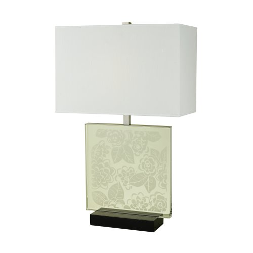 Candice Olson Lighting Mischief Lamp with Chrome & Crystal Etched Flowers, White Poly/Silk Hard-Back Shade 27''x17'' by Candice Olson Lighting
