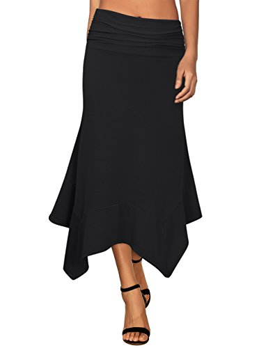 Knit Pleated Cotton Skirt (GloryStar Women's Elastic Waist A-Line Flowy Asymmetrical Pleated Midi Skirt Black L)