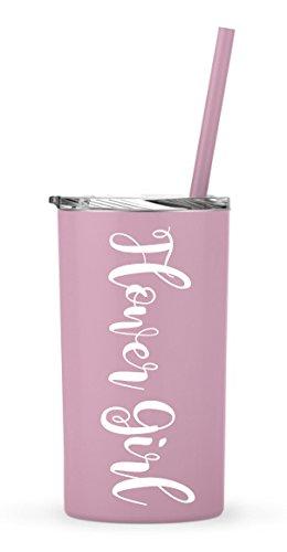 FLOWER GIRL Tumbler - Bridal Party stainless steel skinny tumbler - 12oz. Skinny Stainless Steel Tumbler 20 oz - Bride Tumbler Gift (Flower Girl - Carnation Skinny Mini)