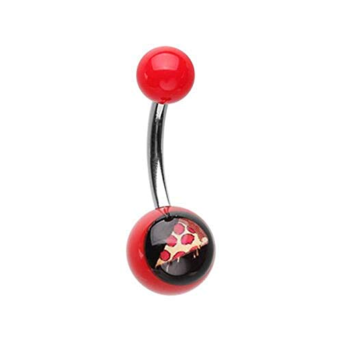 (Covet Jewelry Feed me Pizza Acrylic Logo Belly Button Ring)