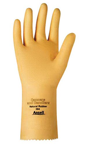 Ansell 193925 Size 9 Natural Canners and Handlers 12'' 20 mil Unsupported Natural Rubber Latex Medium Duty Chemical Resistant Gloves with Pebble Embossed Grip Finish and Pinked Cuff (1/PR)