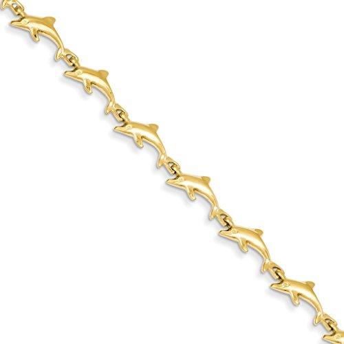 14k Yellow Gold Polished Dolphin Bracelet 7