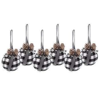 6 Pack Black & White Buffalo Plaid Christmas Ornaments Shatter Proof