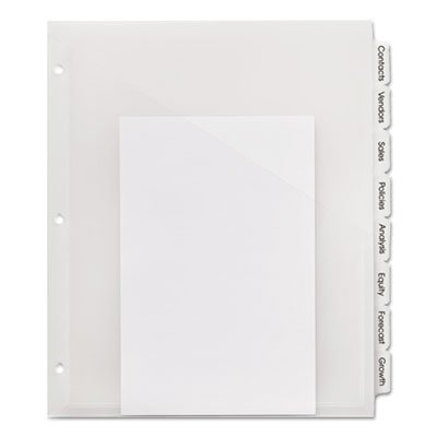Plastic Dividers w/ Pockets, 8/Tabs, Clear, Sold as 1 Set