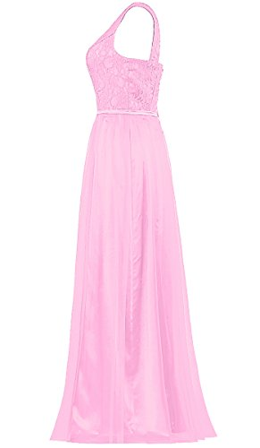 ANTS Tulle Women's Gowns One Long Shoulder Lace Pink Bridesmaid Dresses ZnRZv7x4r